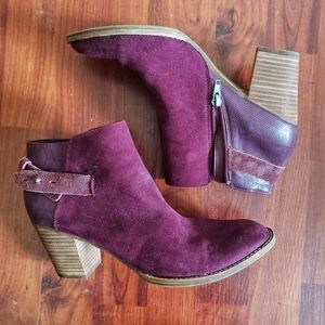 DV Dolce Vita Plum Booties suede tacked block heel